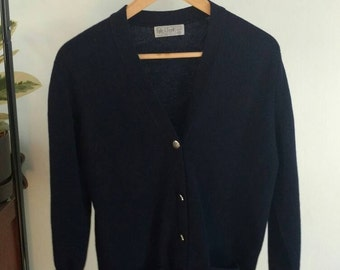 Vintage/ Dark Navy Wool Cardigan Sweater With Gold Button Detail
