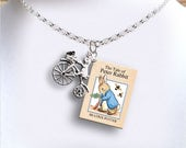 Peter Rabbit with Bicycle Charm - Miniature Book Necklace