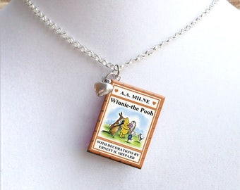 Winnie the Pooh With Tiny Heart Charm - Miniature Book Necklace