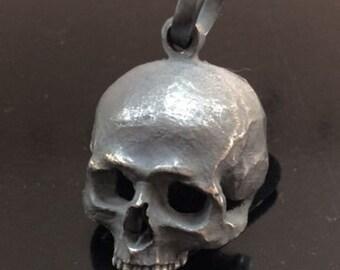 Skull Pendant Necklace Sterling Silver 925 Biker Harley Masonic Handmade