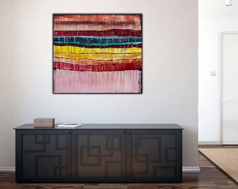 Original Colorful Abstract Art on Canvas   ,36x36 inch Modern Wall Art ,Home Decor