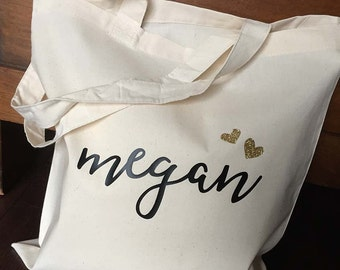 Bridesmaid Wedding Tote - black and gold - personalised tote - wedding party gift bag
