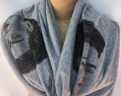 Frida Classic Braided Infinity Scarf. Frida Gray Color Infinity Scarf. Gift Friendly.