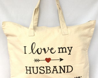 I Love my Husband Duffle Canvas Bag. Love Canvas Shoulder Bag. Canvas Durable Bag. Tavel Duffle Bag. Gift Friendly .