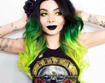 Halloween 100% Human Brazilian Remy Lace Front Wig Ombre Balayage Dip Dye Pine Green into Neon Flourescent Yellow