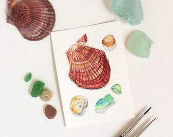 "Beach finds original ACEO: sea glass & shell painting - miniature watercolour painting 2.5""x3.5"" - artist trading card ATC - affordable art"