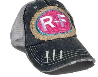 Rodan + Fields hat, Trucker hat, R+F hat, Rodan and Fields, Trucker cap, Burlap Rodeo Patch , BLING SWAROVSKI Crystal accents