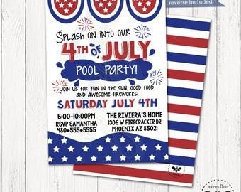 4th of July Pool Party Invitation Printable / Hoilday Patriotic Digital Invite / Memorial Day, Veterans Day, American Theme Invitation