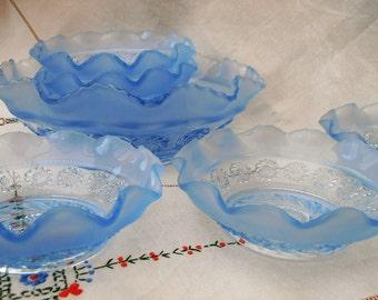 Vintage Pressed Glass Fruit/Dessert Set. Blue Glass.