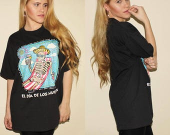 El Dia De Los Muertos T shirt Day of the Dead Skeleton Tee 90s Vintage Black Colorful Grunge Drinking Tee Alcohol Shirt Oversized Hipster XL