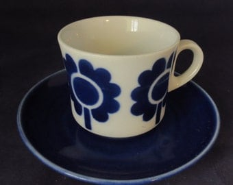Arabia of Finland, Blue Miranda coffee cup and saucer.