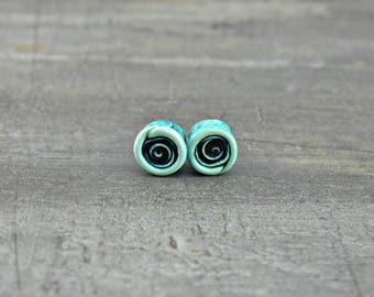 Baby Roses in Teal - Set of Two, miniature polymer clay roses