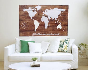 Wood World Map Wall Art Large Reclaimed