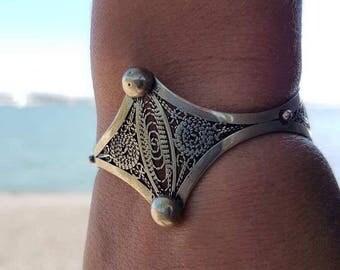 filigree silver cuff sterling silver cuff , silver bracelet , minimalist bracelet
