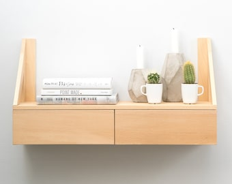 Hanging shelf natural wood