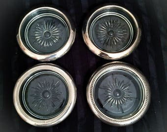 """Silver Plated Rim 4"""" Clear Crystal Coasters Set of 4 Vintage Coasters"""