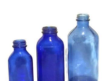 Vintage Blue Glass Medicine Bottles Set of 3 Cobalt Collector Bottles Antique Glass Bottles