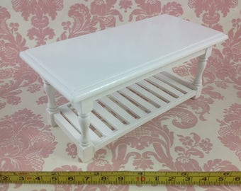 Dollhouse MIniature Furniture Kitchen/Baking/Home White Wood Working Table 1:12