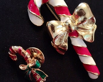 Candy Cane Brooch / Pin and Tack