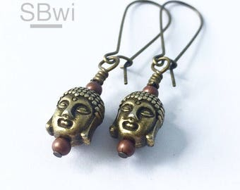 Buddha earrings in antiqued bronze with copper detail