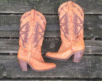 Boots - Size 7 Caramel Brown Leather Cowboy Cowgirl Boots High Heels Butterfly Country Western Boho Made in USA Miss Capezio Womens
