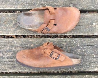 Shoes - Size 5.5 Light Brown Leather Slip Ons Clogs Moccasins Made in Germany Birkenstocks 36 Womens 5 1/2
