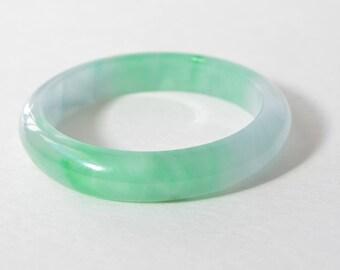Vintage Natural Genuine Translucent Green Jadeite Jade Bangle Bracelet 58 mm