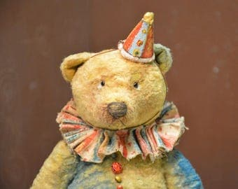 Artist Teddy Bear OOAK antique teddy bear  vintage toy  Plush  Sawdust  Soft sculpture Teddy Bear to order  Сlassic teddy bear Old circus.
