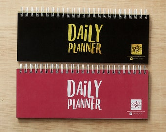 Daily Planner - Slim Notebook - Spiral Bound Notebook, Desk scheduler, Notepad