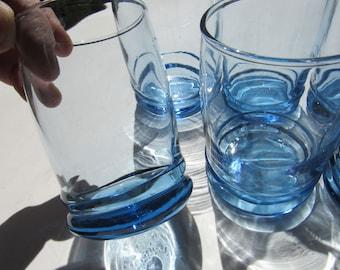 Vintage Set of 6 Blue Anchor Hocking Juice Glasses