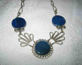 Vintage Sterling Open Work Lapis Necklace