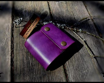 leather checkbook cover with card violet