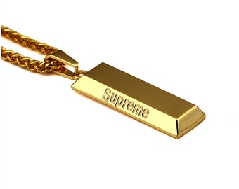Supreme necklace Gold Plated Supreme Letter Square Pendant Long Necklace Hip Hop Gold Chain Statement Necklace cuban link chain Monogram