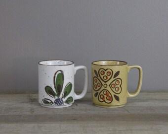 Pair of vintage Japanese Stoneware mugs | mix and match ceramic mugs | #2564