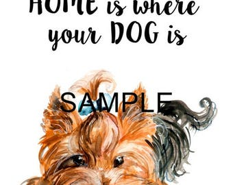 Fabric Art Quilt Block - Yorkie *Home is Where...*- 17-057 FREE SHIPPING
