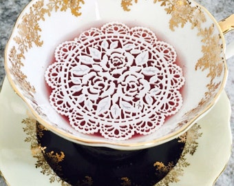 "12 Sugar Doilies 2.75"" Edible Rosette Cake Decorating Tea or Coffee Doily Wedding Reception Bridal Party Christmas Stocking Stuffer"