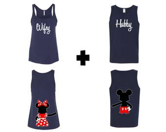 Hubby and Wifey with Mickey and Minnie Hugging Tank Tops, Couples Matching Tank Tops, Just Married Tank Tops, Wedding Gift Present