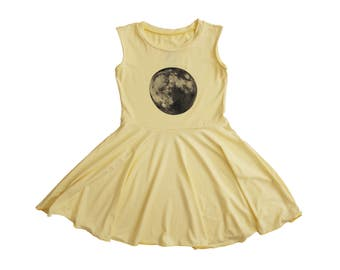 Clothing , Girl's Clothing , Yellow Twirly Dress with Moon
