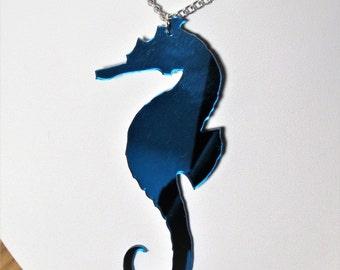 Blue Seahorse Large Statement Mirror Mermaid Necklace