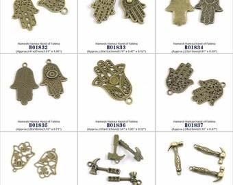 Jewelry Making Charms Pendant Hamesh Hamsa Hand of Fatima Hammer Findings Jewellery Beading Crafting Supply Supplies