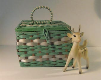 Vintage Mid Century, 1950s Woven Green and White Sewing Basket -  Japan - Collectible Sewing Basket - Vintage woven Basket