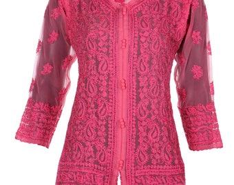 India Indiankala4U Ladies ethnic  Chikankari Hand Embroidery Kurtis/Top/Tunic for summer wear women/ladies/girls