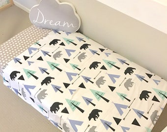 Cot / Crib Quilt Baby Boy Blanket Nursery Bedding Black Bears