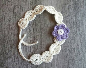 Baby flower headband, baby tie-back
