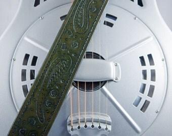 Guitar Strap, Hand-tooled Leather, Original Design, Adjustable