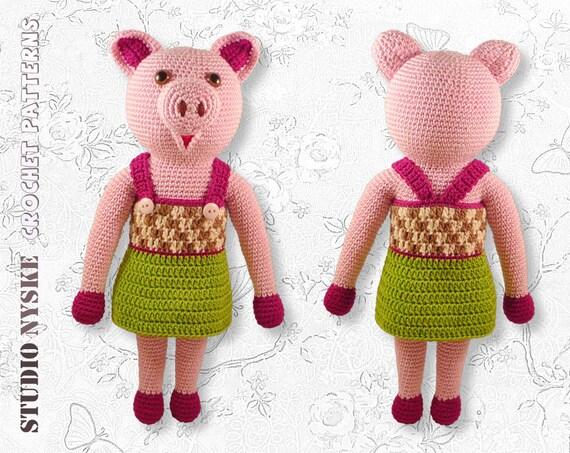 Crochet amigurumi PATTERN deal, LARGE pig, dresses pants ...