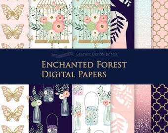Enchanted Forest / Butterfly / Antique Bird Cage Digital Paper Pack - Instant Download - DP148