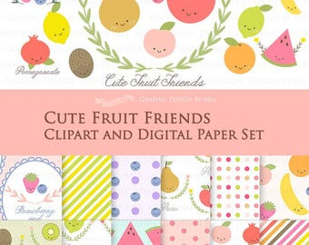 30% off Cute Fruit Friends / Fruit Clip Art + Digital Paper Set / Fruit Clipart / Fruit Digital Paper - Instant Download