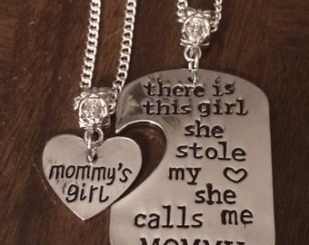 There's This Girl Who Stole my Heart She Calls Me (Mommy, Daddy, Grandma, or Grandpa) Necklace and/or keychain Set