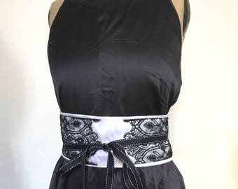 Belt high silk and lace from calais, accessory belt black and white romantic vintage shabby chic